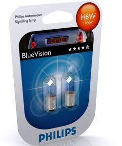 Автолампа PHILIPS H6W 12V-6W BA9s Blue Vision ultra