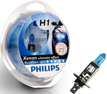 Автолампа PHILIPS 12V 2 x H1 + 2 x W5W Blue Vision ultra