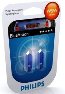 Автолампа PHILIPS W5W 12V-5W Blue Vision ultra